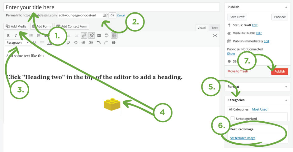 Steps of making a WordPress Post - Basics of making a WordPress post for the first time - Featured image, adding an image, and publishing