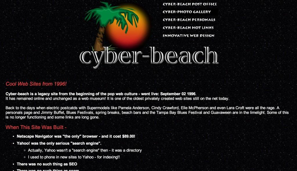 Cyber Beach, old bad websties