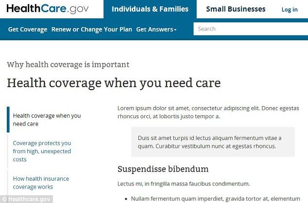 Healthcare.gov Lorem Ipsum