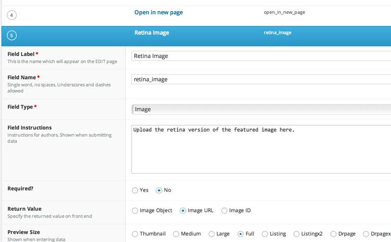 Using Advanced Custom Fields to serve up retina display images