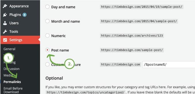 Permalink Changes on installing WordPress