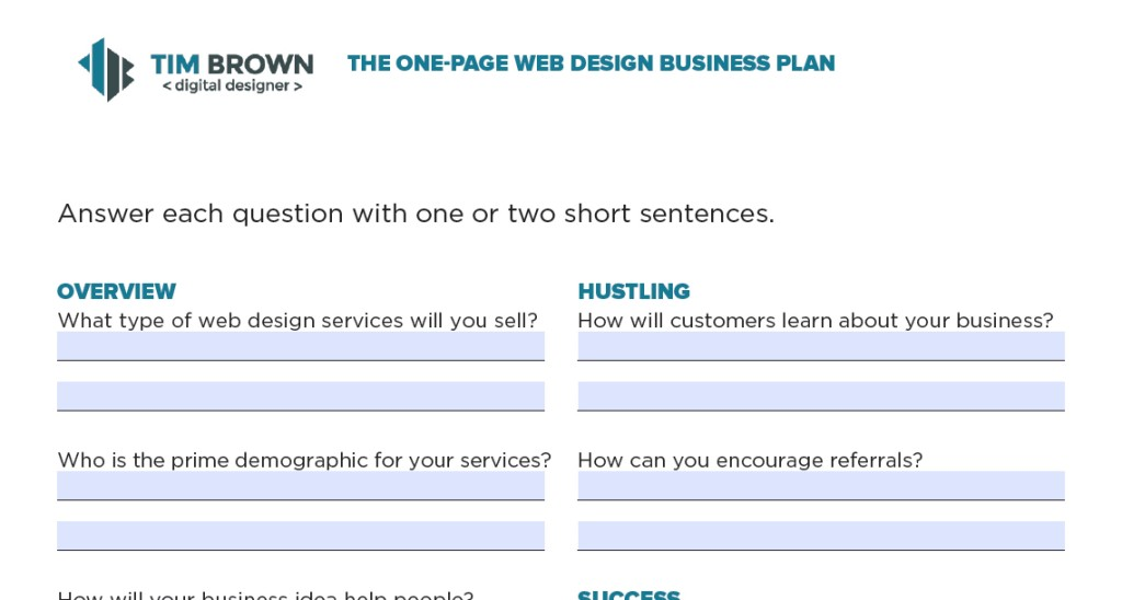 Web Design Business Plan Template