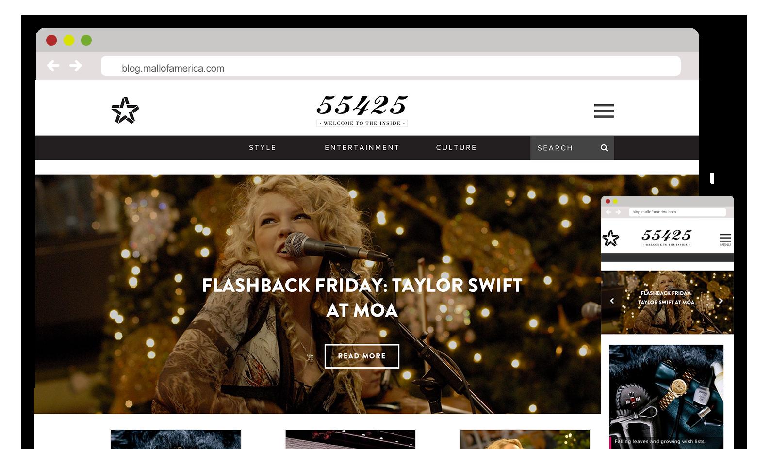 Web Design of Blog - Mall of America - Website design