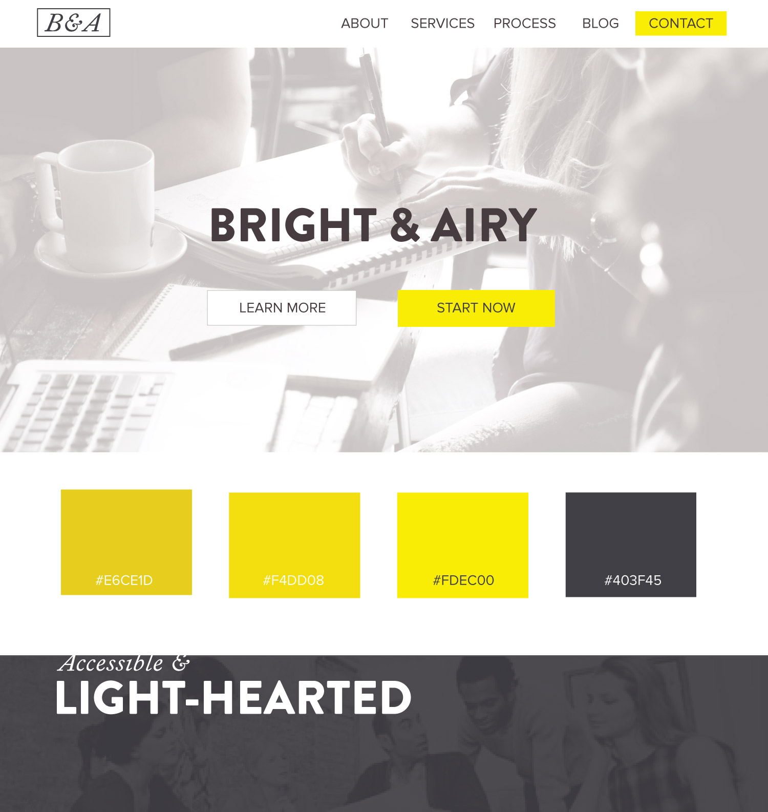color palette ideas web design airy accessible light hearted yellow - Web Design Ideas