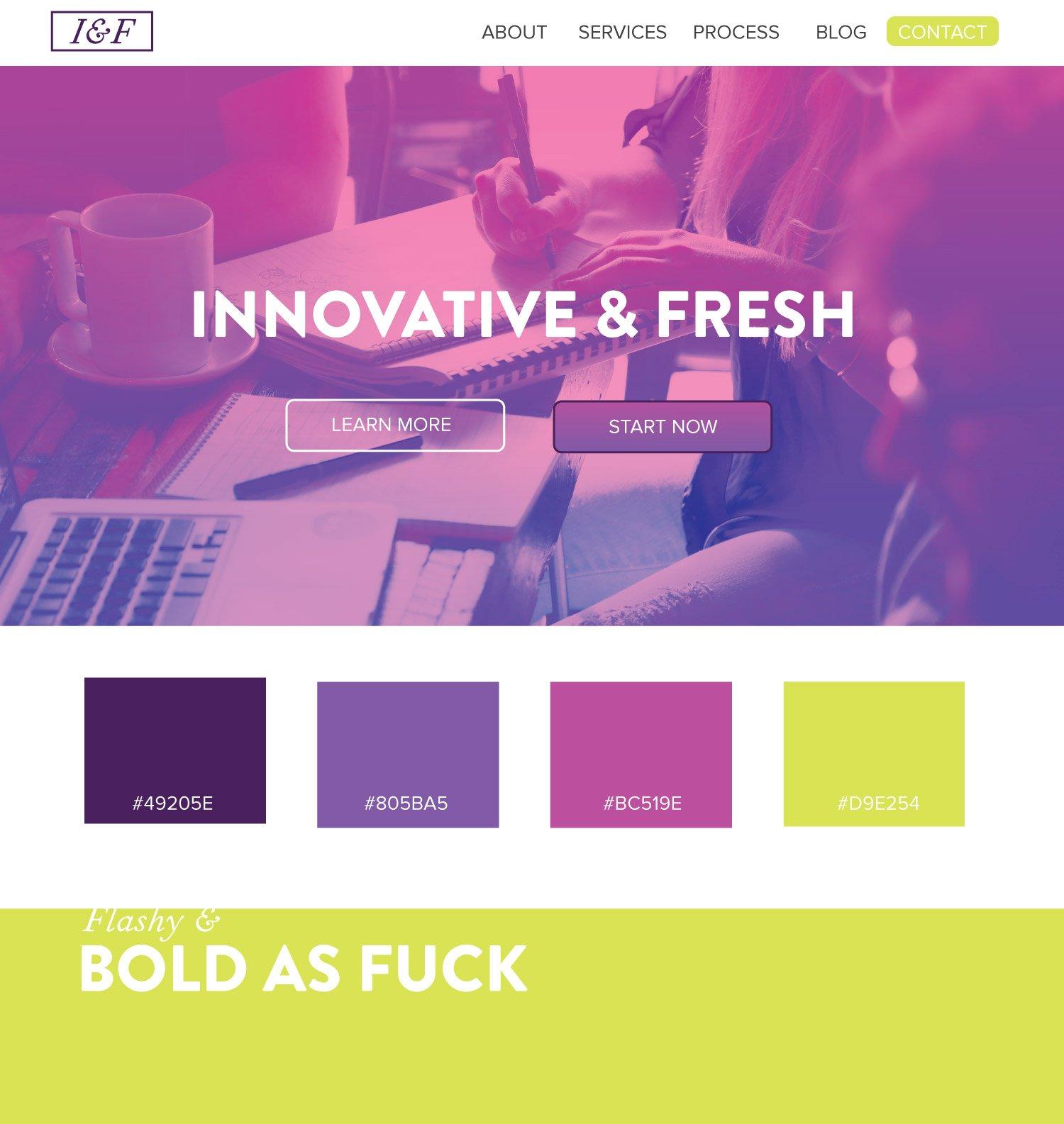 Fresh and innovative , bold as fuck, design color scheme ideas