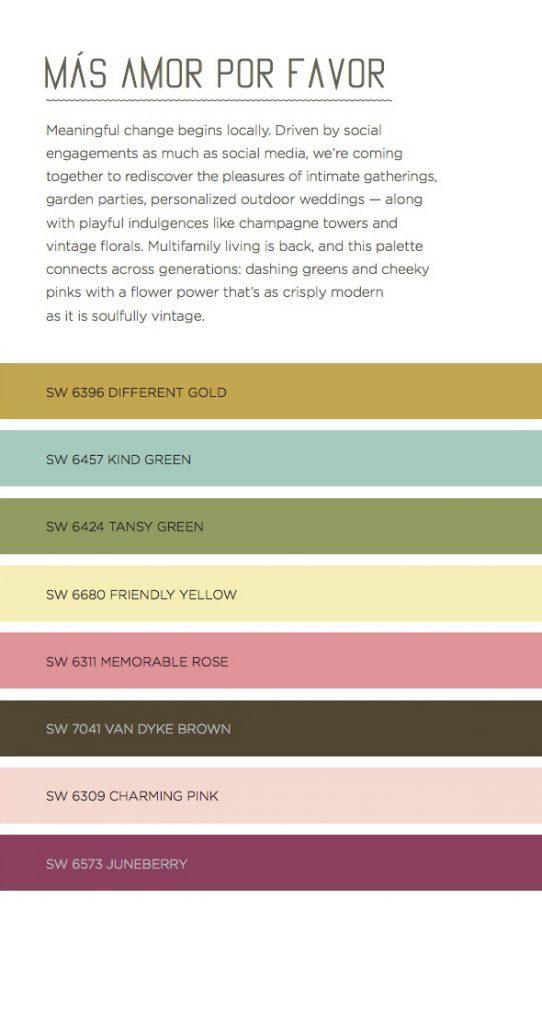 Mas Amor Por Favor, Sherwin Williams Color Predictions, Color Guide 2016