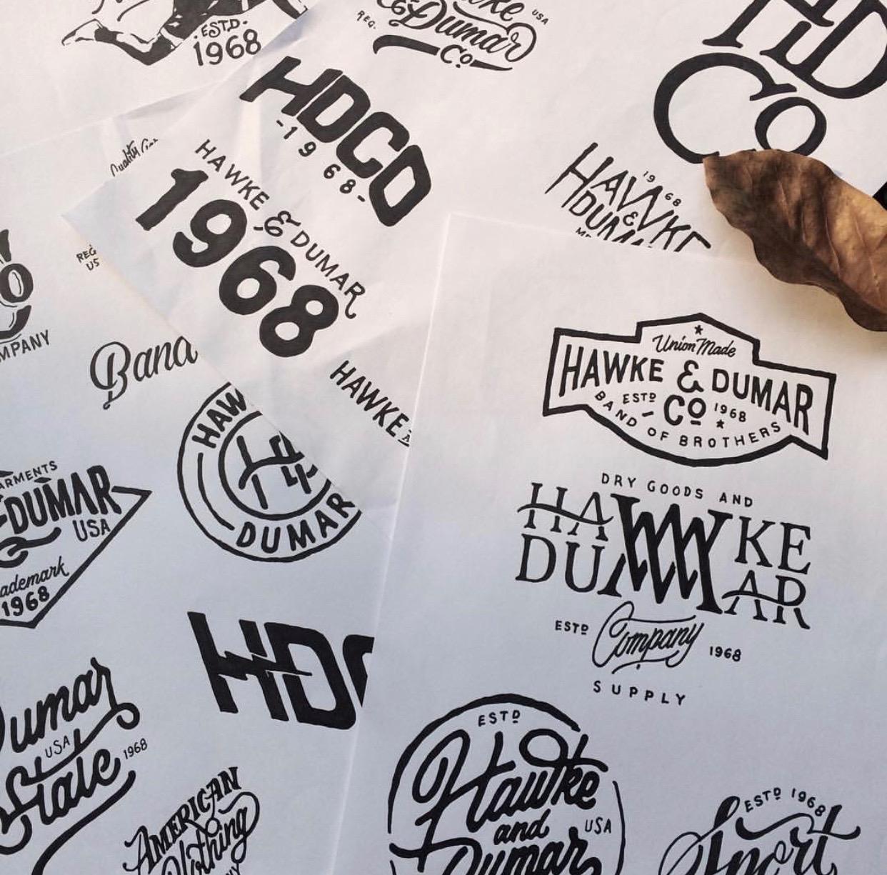 Hawkes & Dumar, lettering