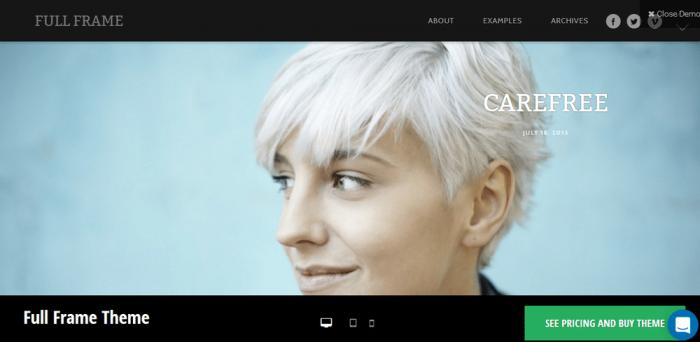 Full frame - top themes for photographers wordpress
