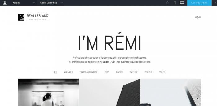 I'm remi - theme for photographers