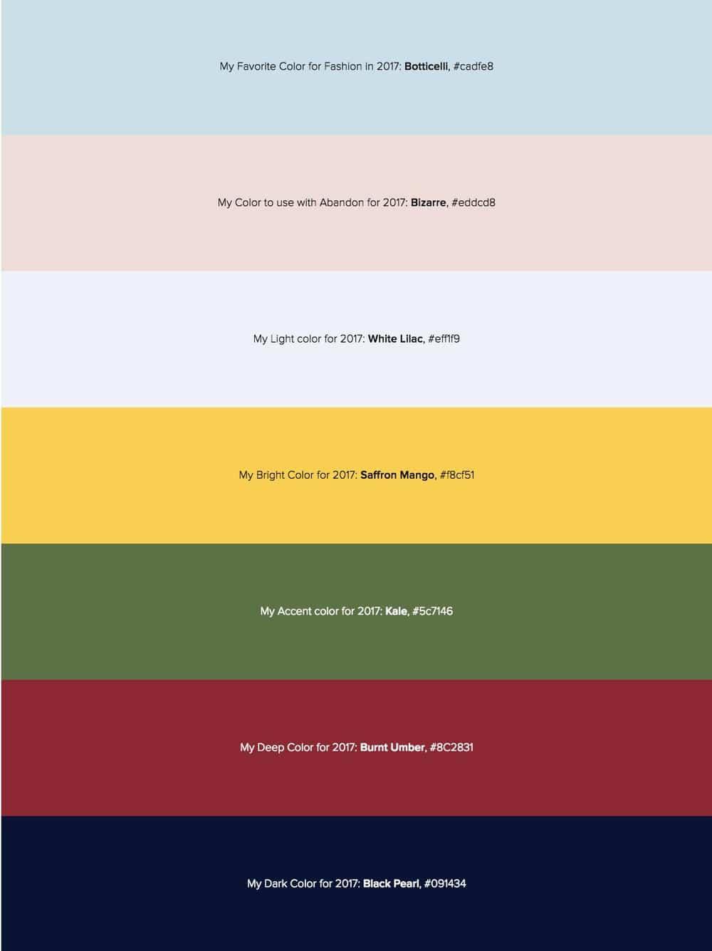 Color Picks for 2017 - Tim Brown