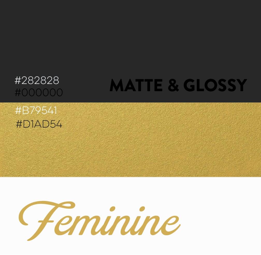 Matte and Glossy Black, Gold Feminine Color Scheme