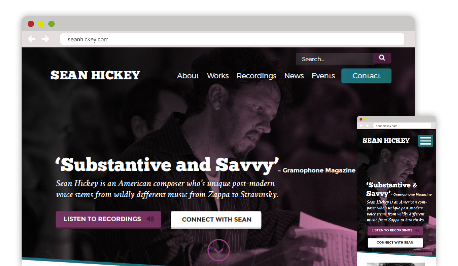 Sean Hickey - Composer web design, website design