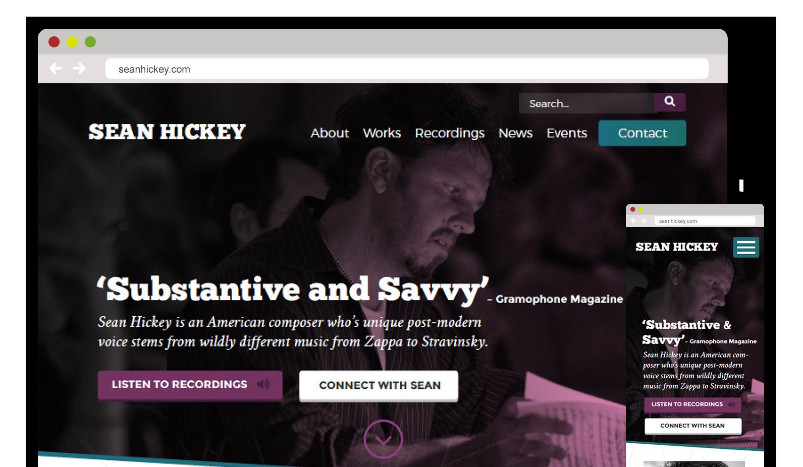 Sean Hickey – Composer Web Design