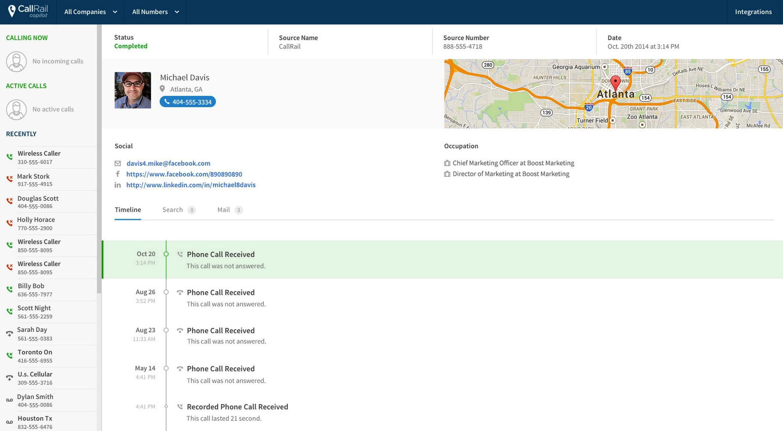 Callrail screenshot, conversion rate optimization tricks 2017