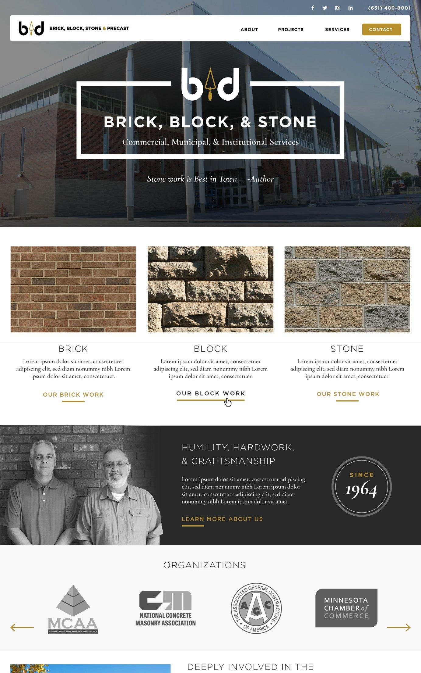 Masonry Company Web design examples - masonry marketing