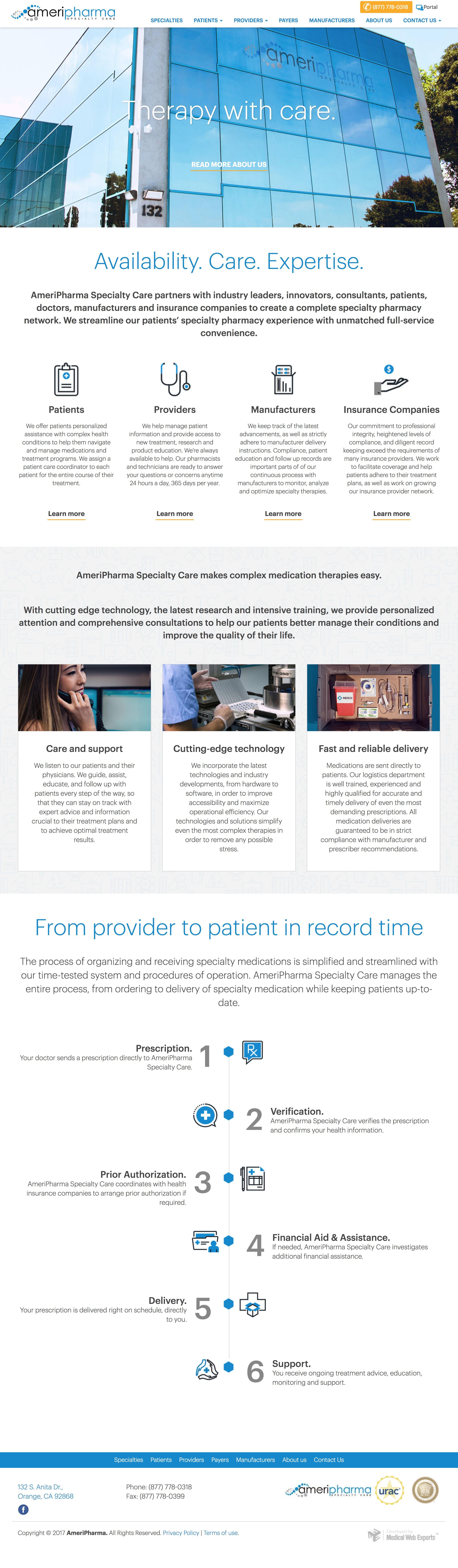 Medical Web Design AmeriPharma Pharmaceutical Layout