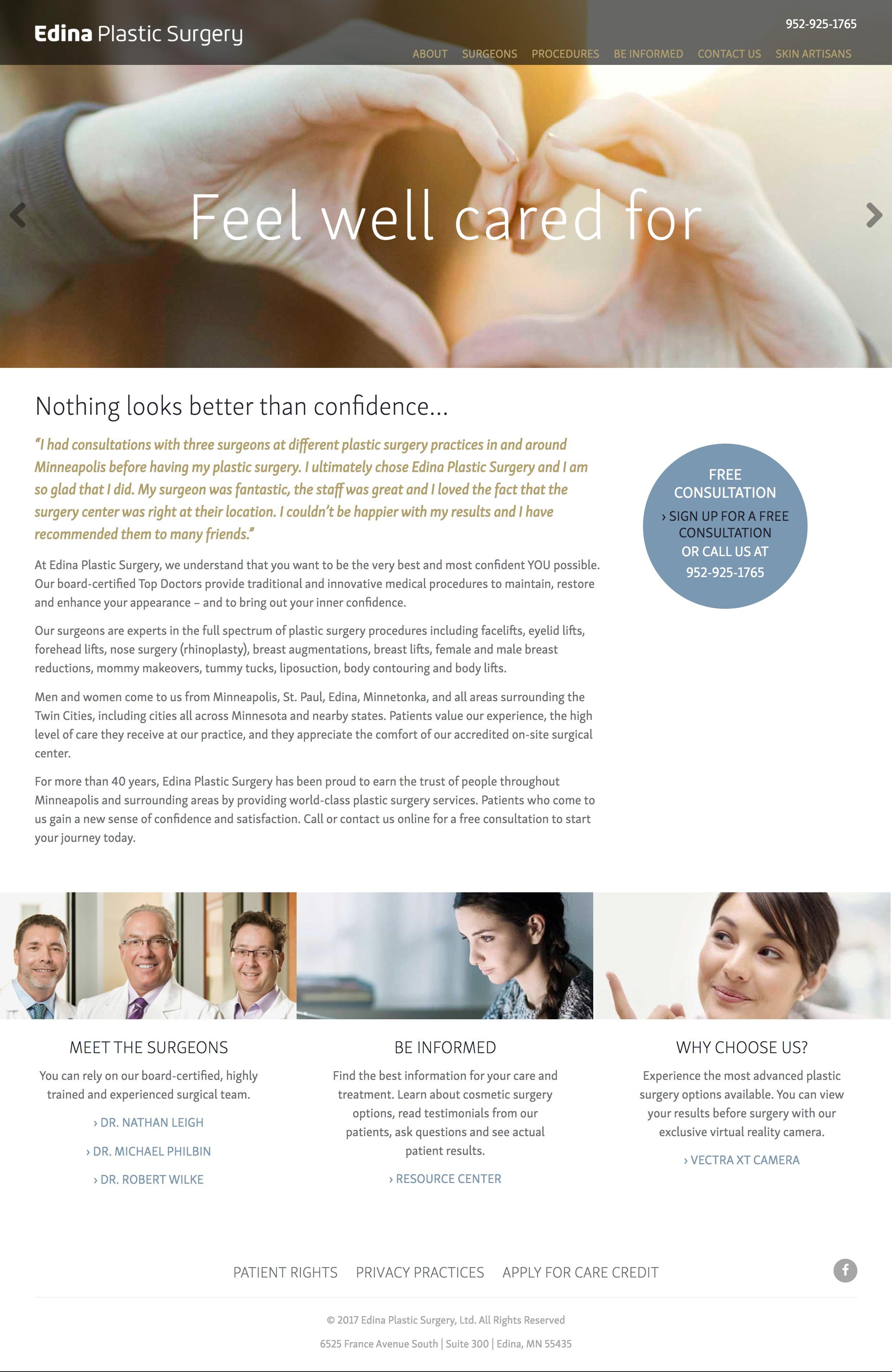 Edina Plastic Surgery Medical Surgical Web Design Layout