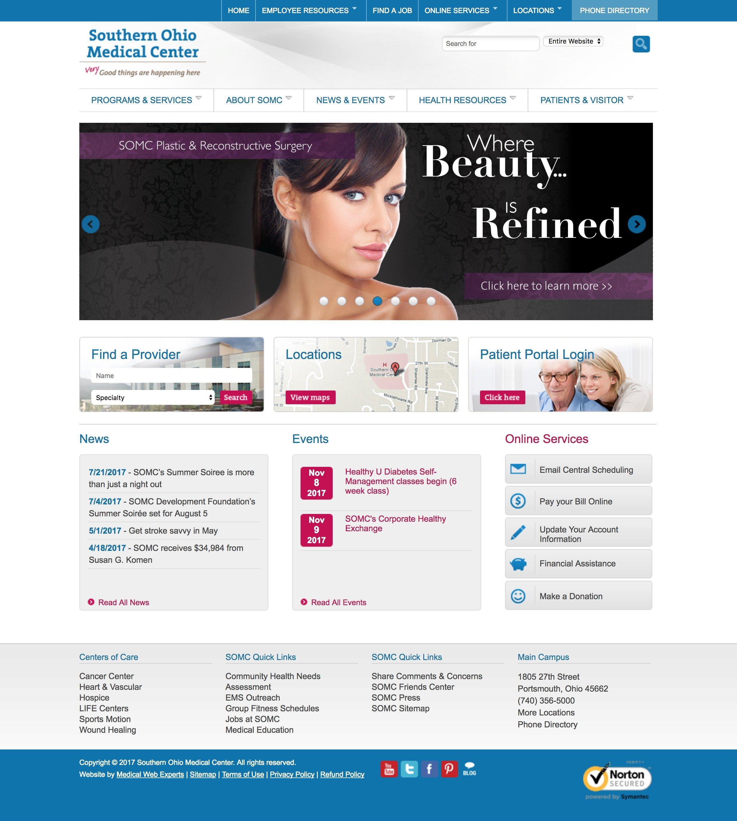 Medical Web Design Layout Southern Ohio Medical Center
