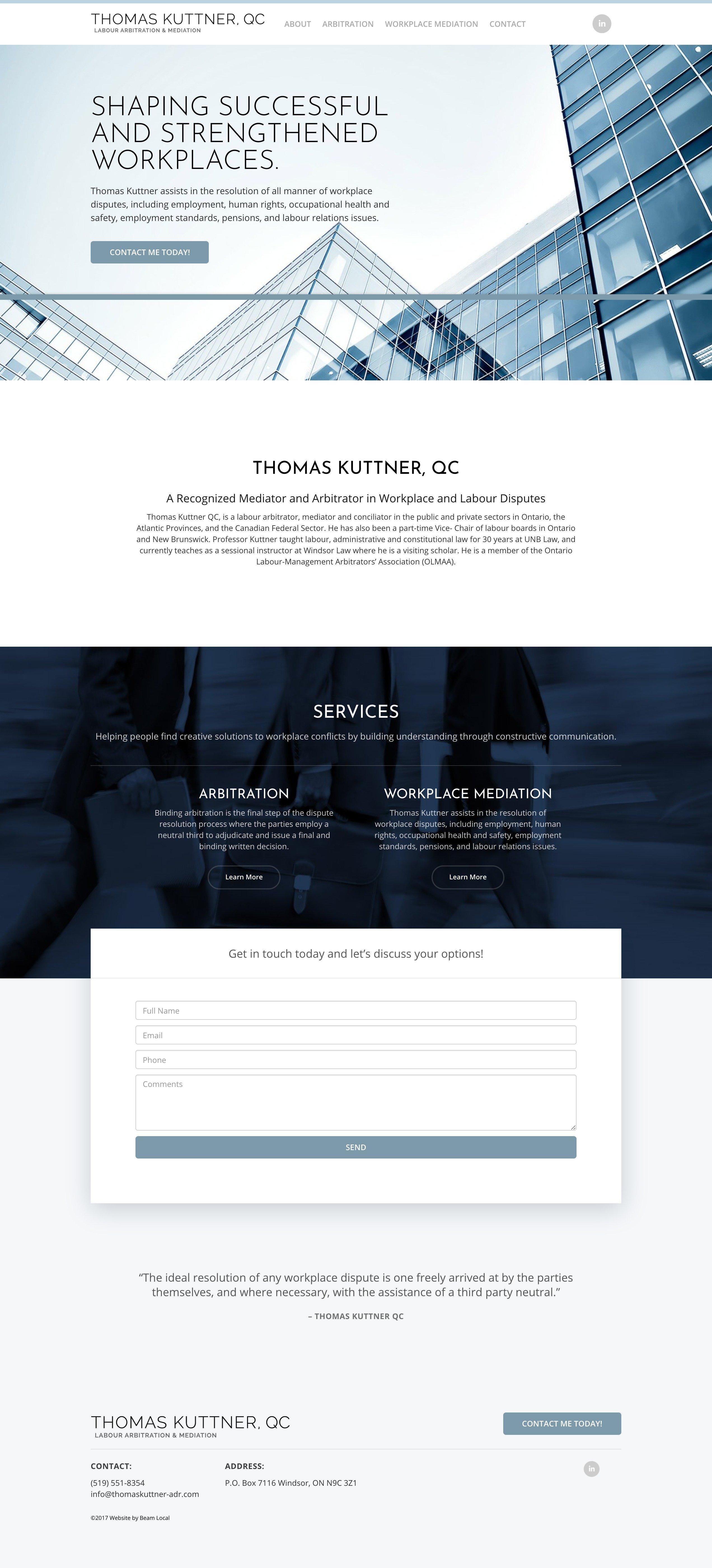 Thomas Kuttner Law- Legal Services Web Design -Lawyer Web Design
