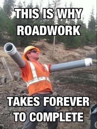Construction meme with man with cone arm.