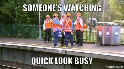 Construction men standing around. Construction memes are always there for a good laugh.