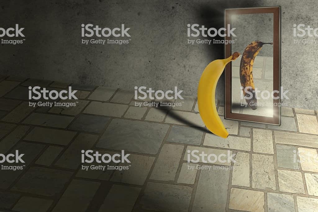 Banana looking in mirror - Low self esteem