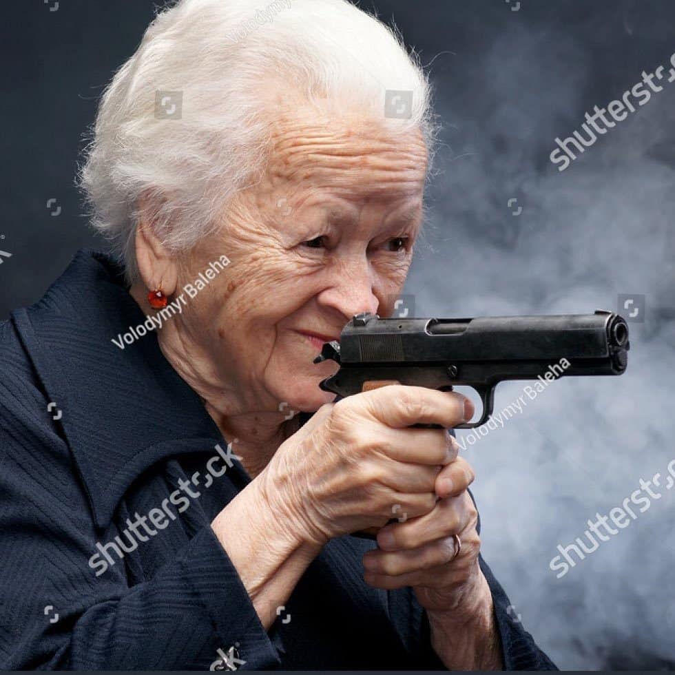 Grandma with Gun - Best of the worst stock images for Memes