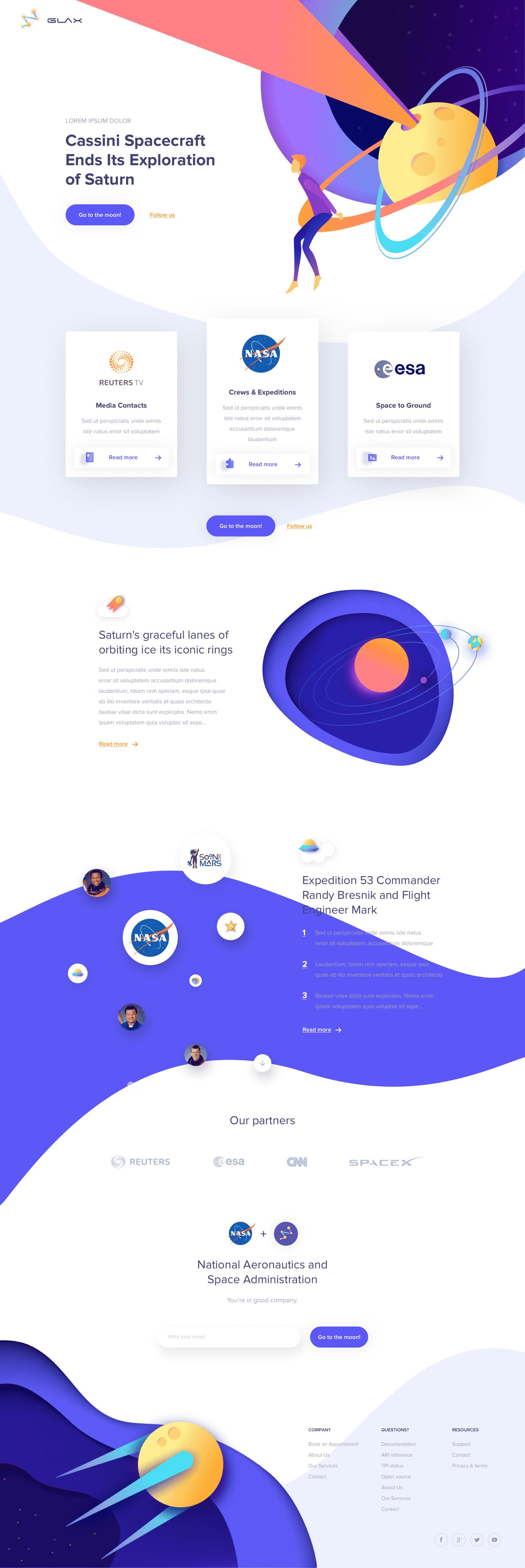 Glax / space / nasa website design inspiration