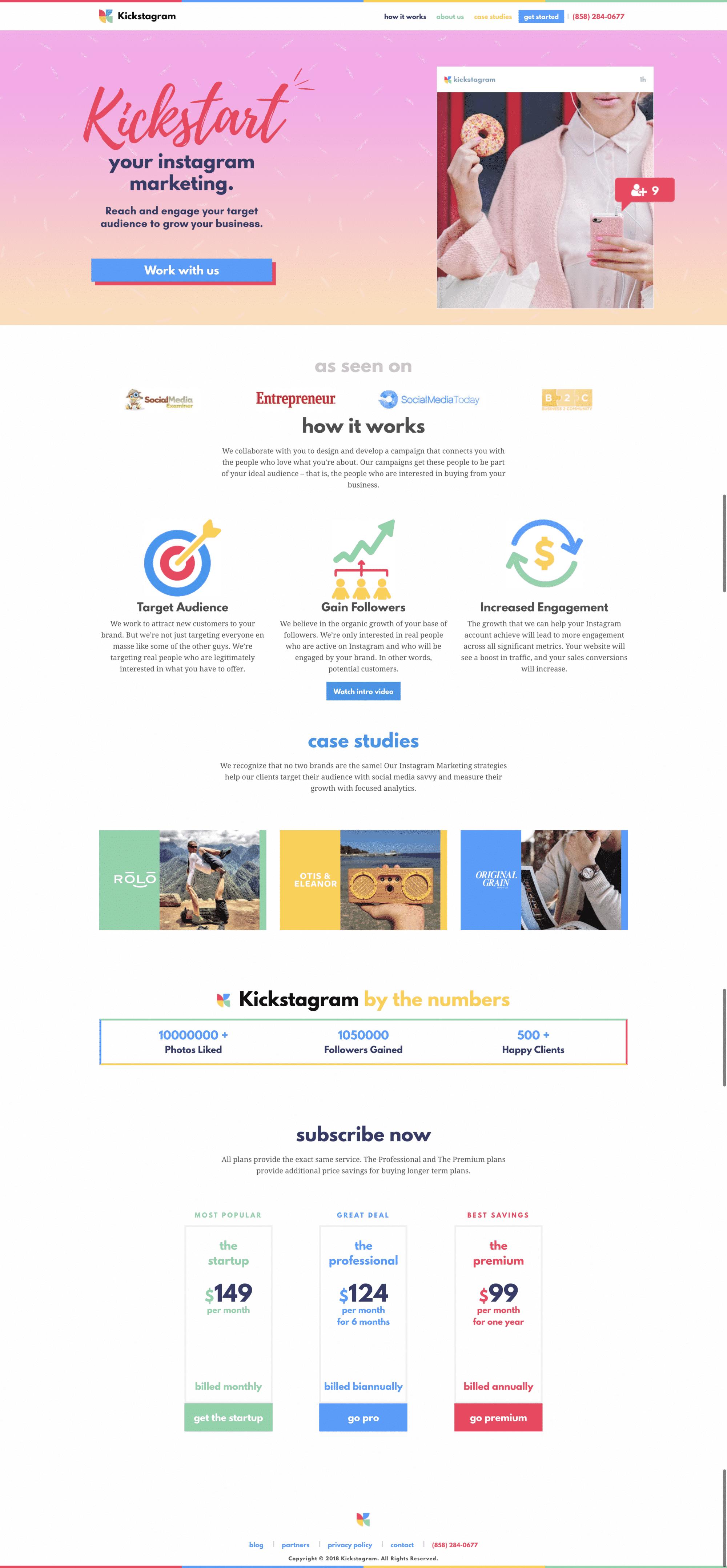 Kickstagram Website Inspiration 2018