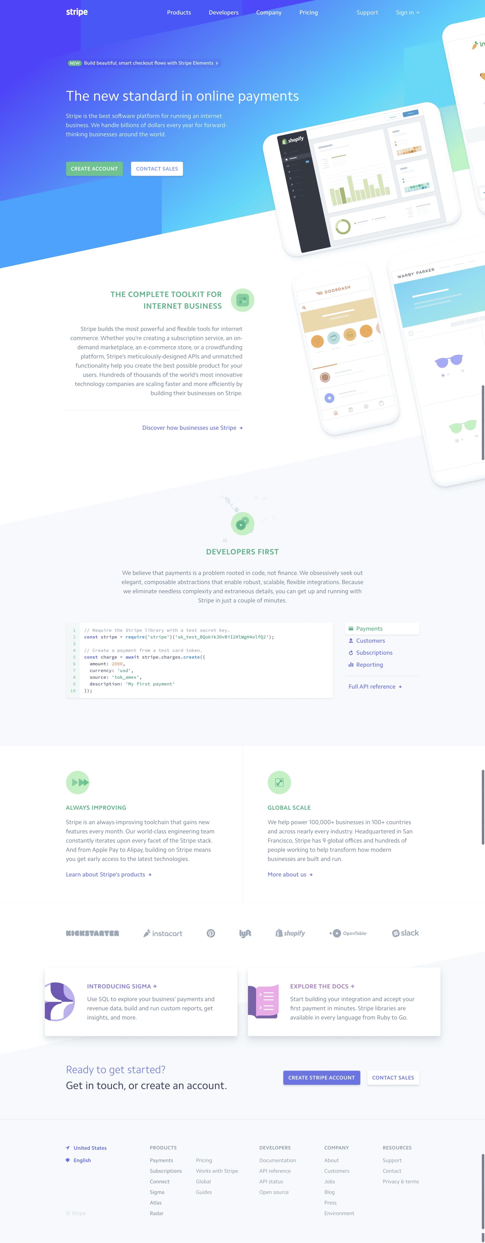 Stripe Website Design Inspiration for 2018