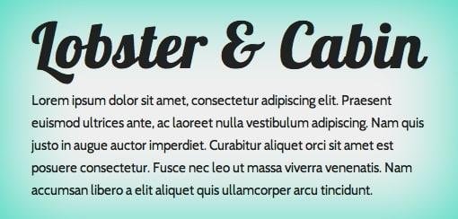Lobster Font Pairing Ideas - Cabin Font