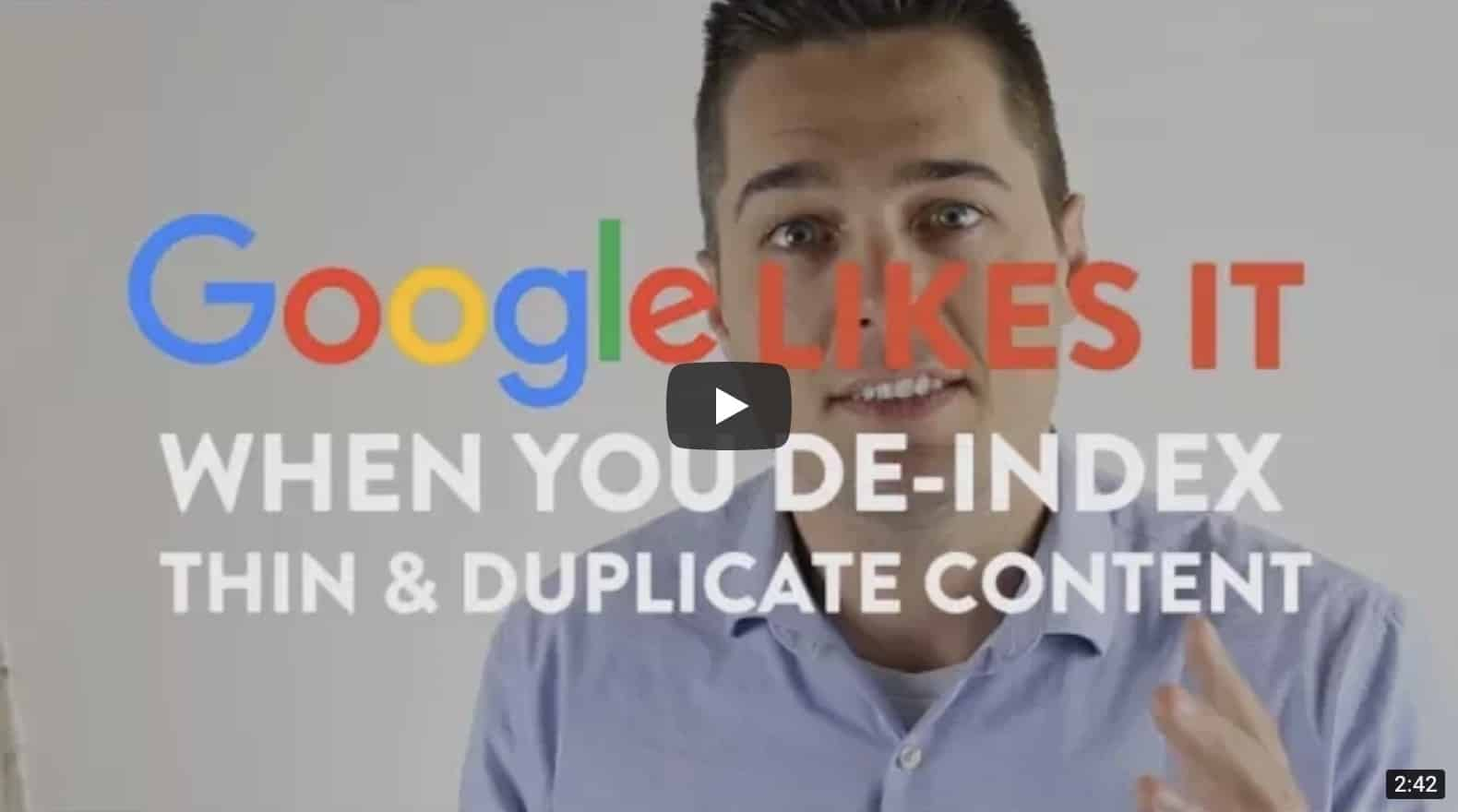 De-index thin and Duplicate Content for SEO - Google Likes it video