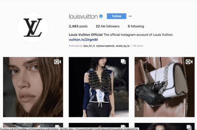 Louis Vuitton Instagram page