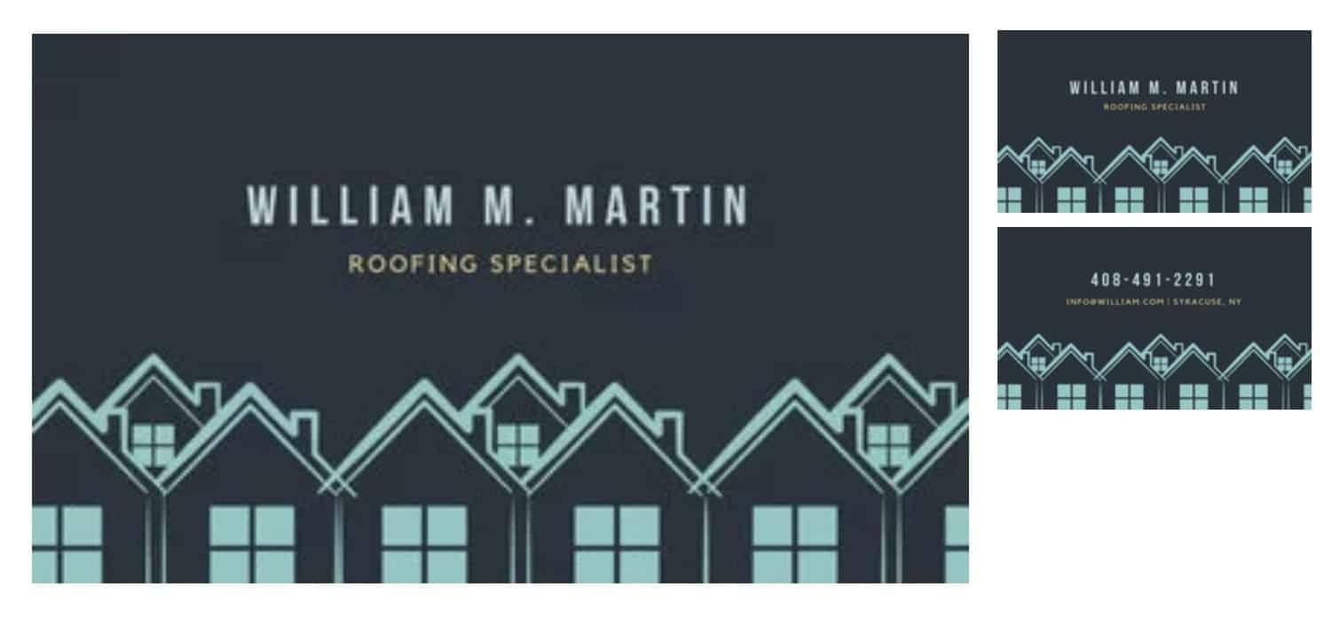 WIlliam Martin - Rofing Specialist business cards
