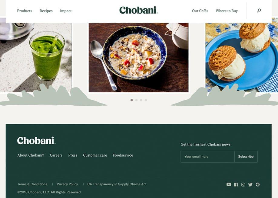 Chobani Footer Design - Web design bottom of page inspiration