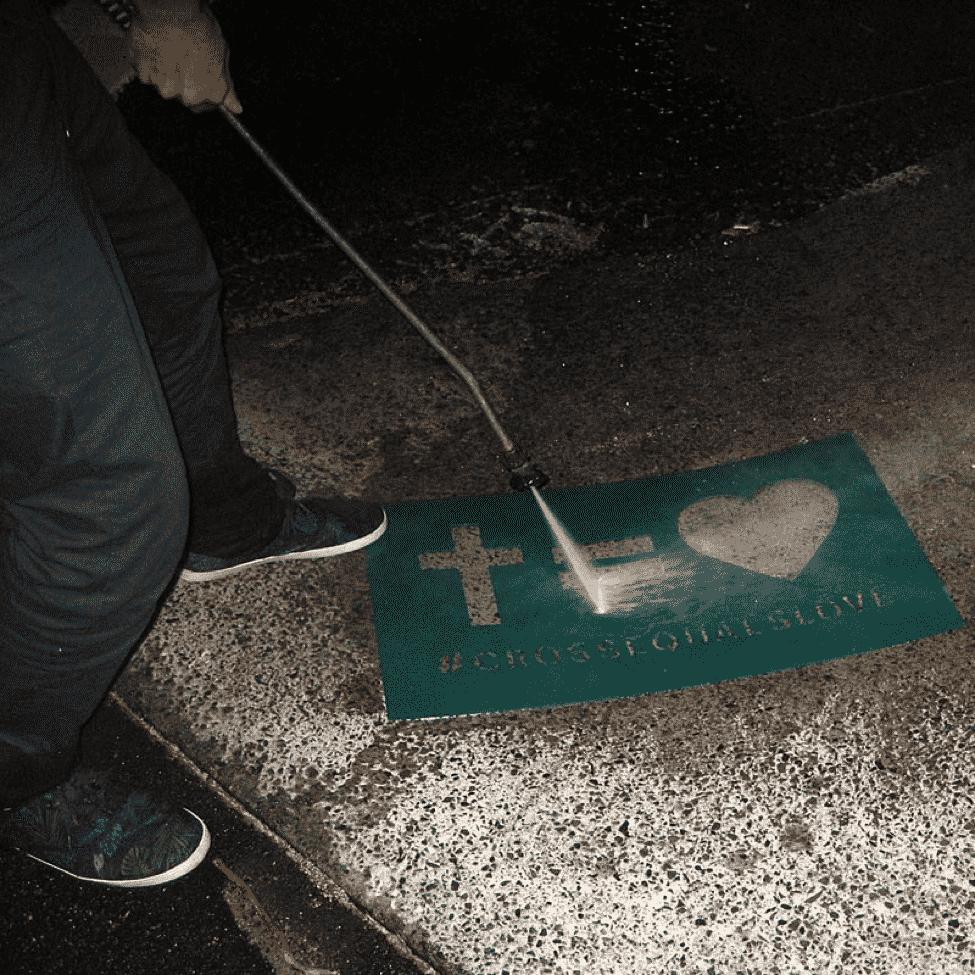 Stencil Pressure Washing