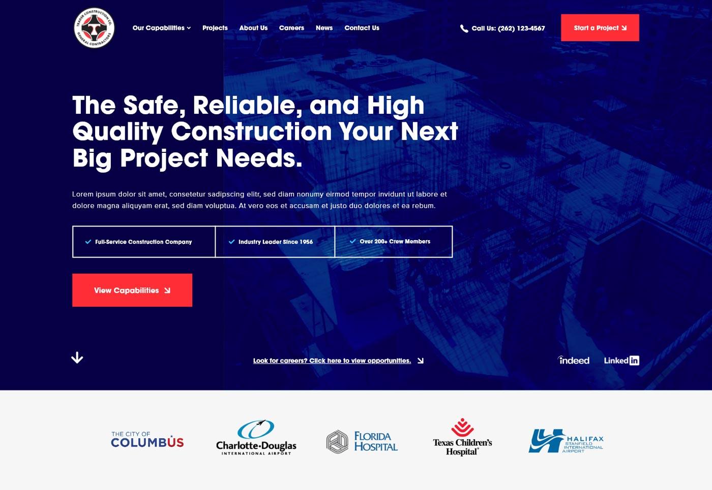 Commercial Construction, Excavation Website Design Inspiration
