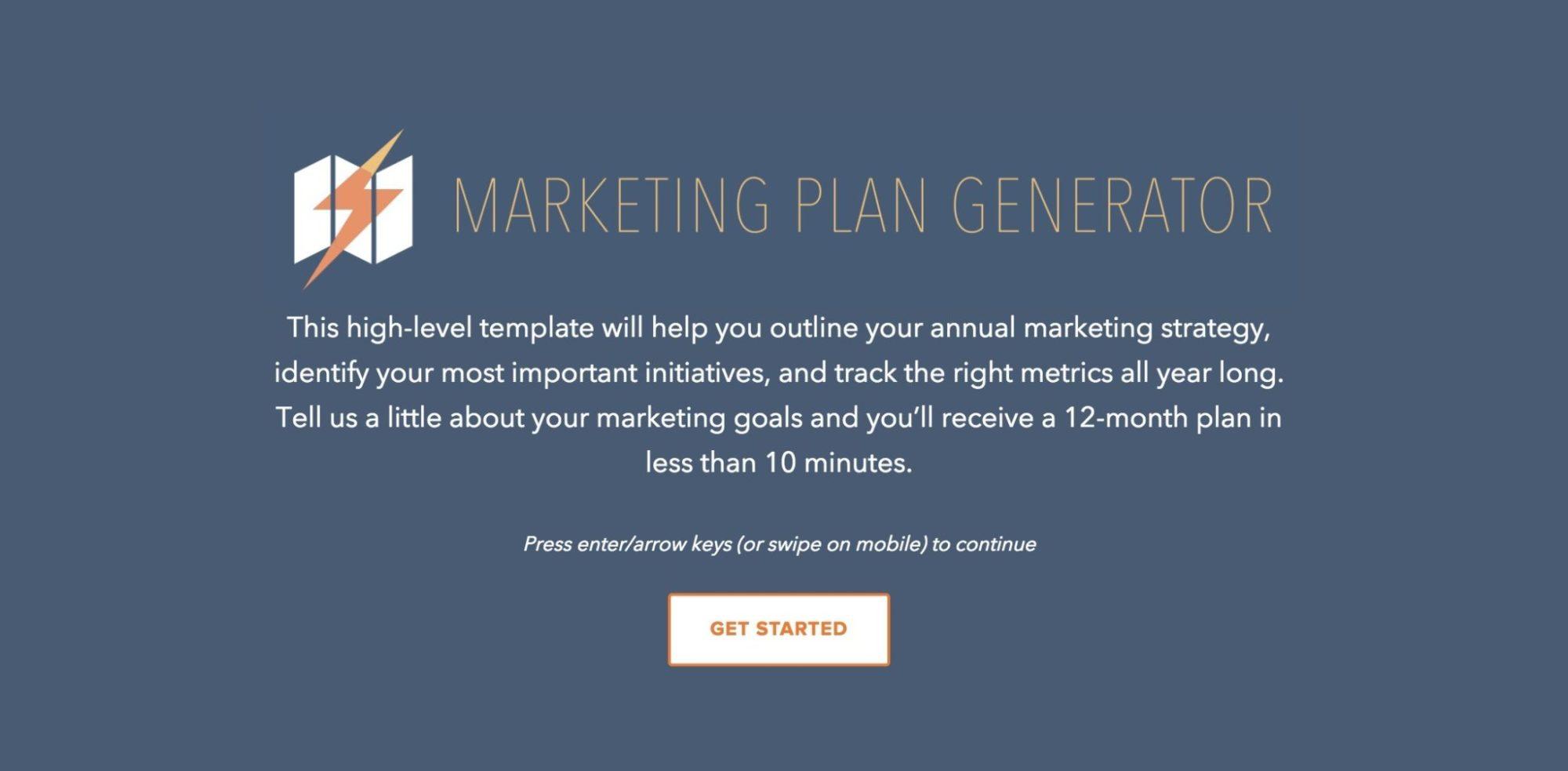 Free Marketing Plan Generator - Hubspot
