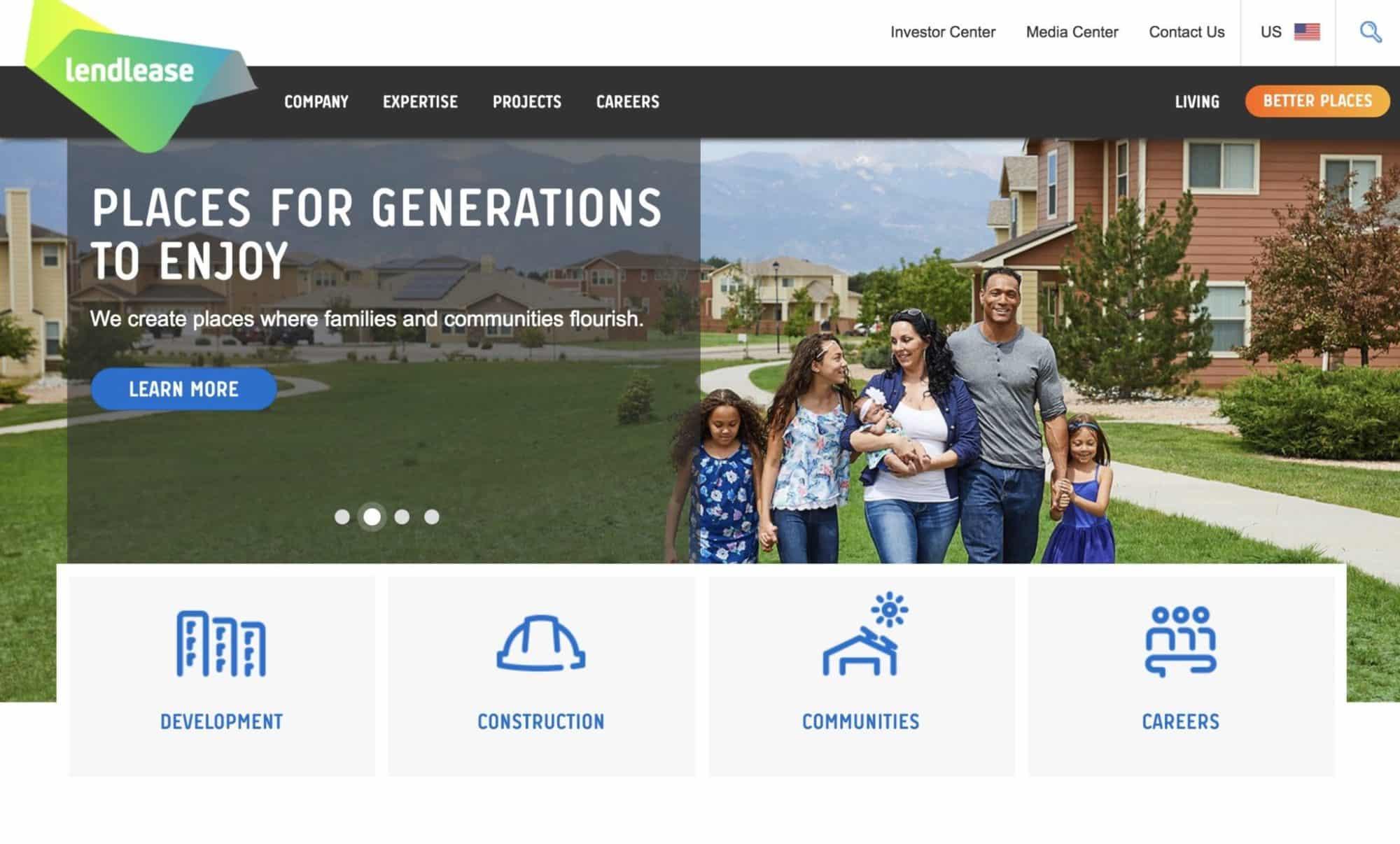 Lendlease- modern website design