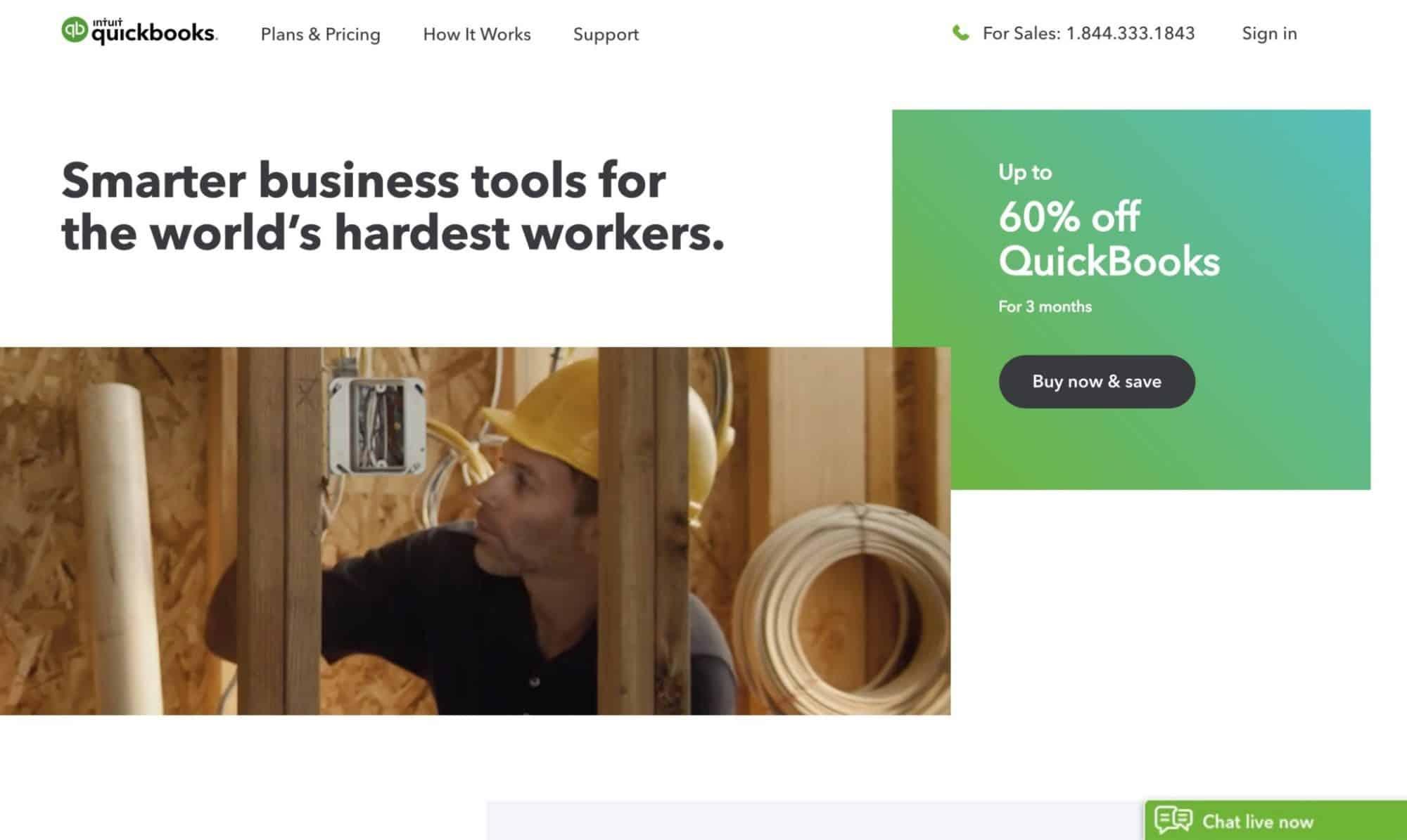 Quickbooks - modern website design