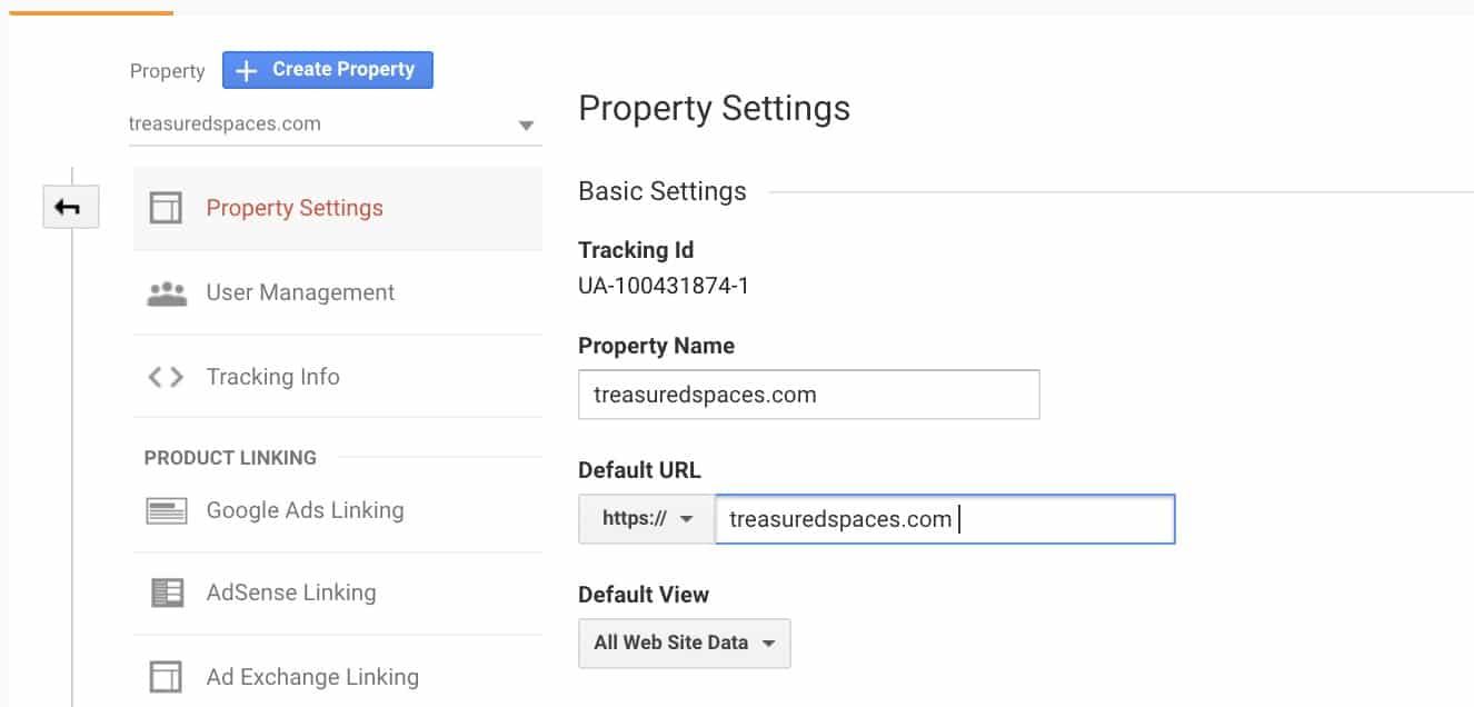 Property settings - google analytics - new website change