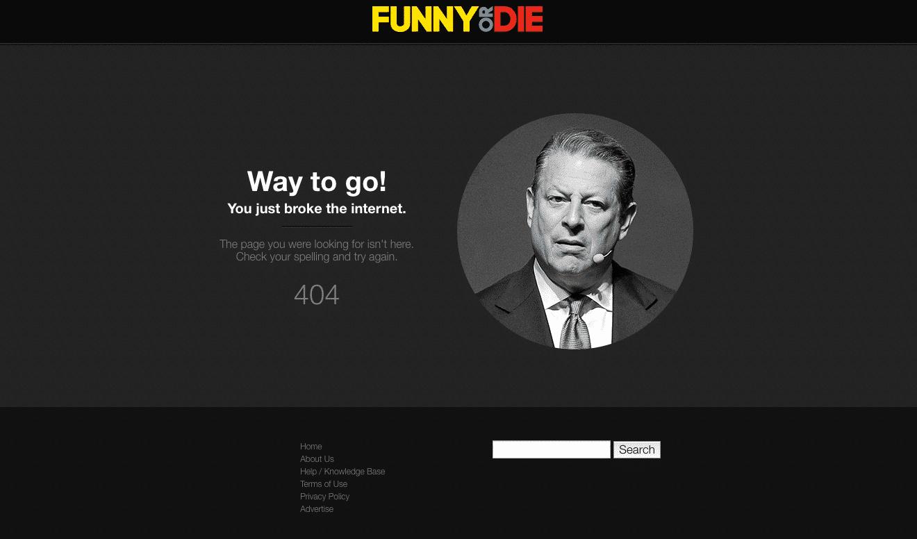 funny or die 404 missing error page