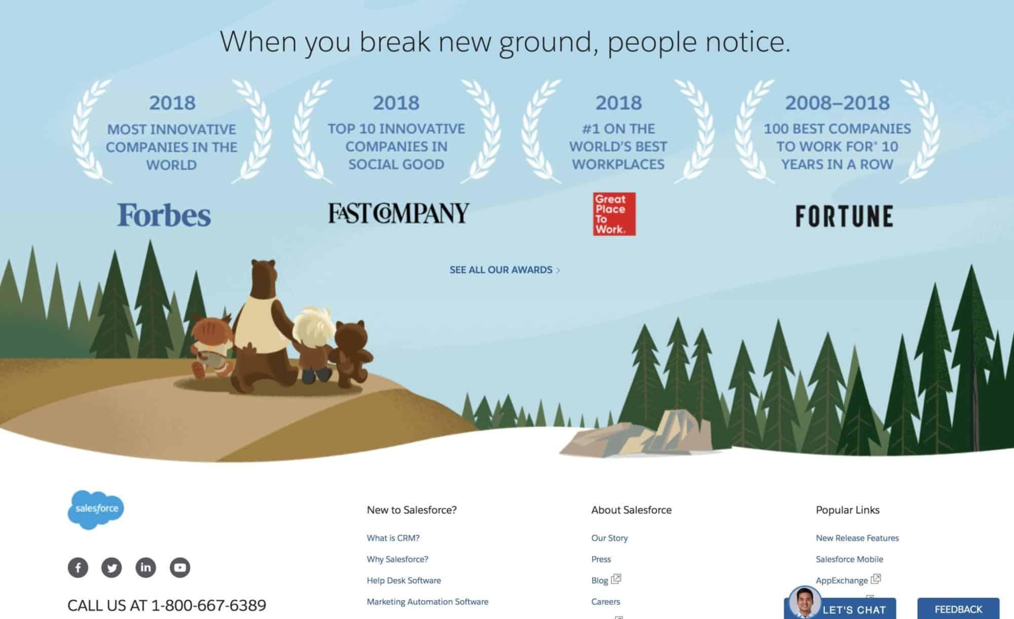 Salesforce website design inspiration - footer design