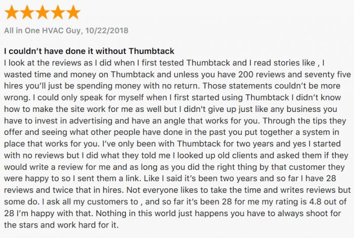 Thumbtack succcess