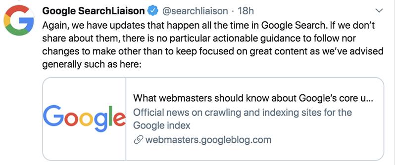 Google algo update - generic tweet
