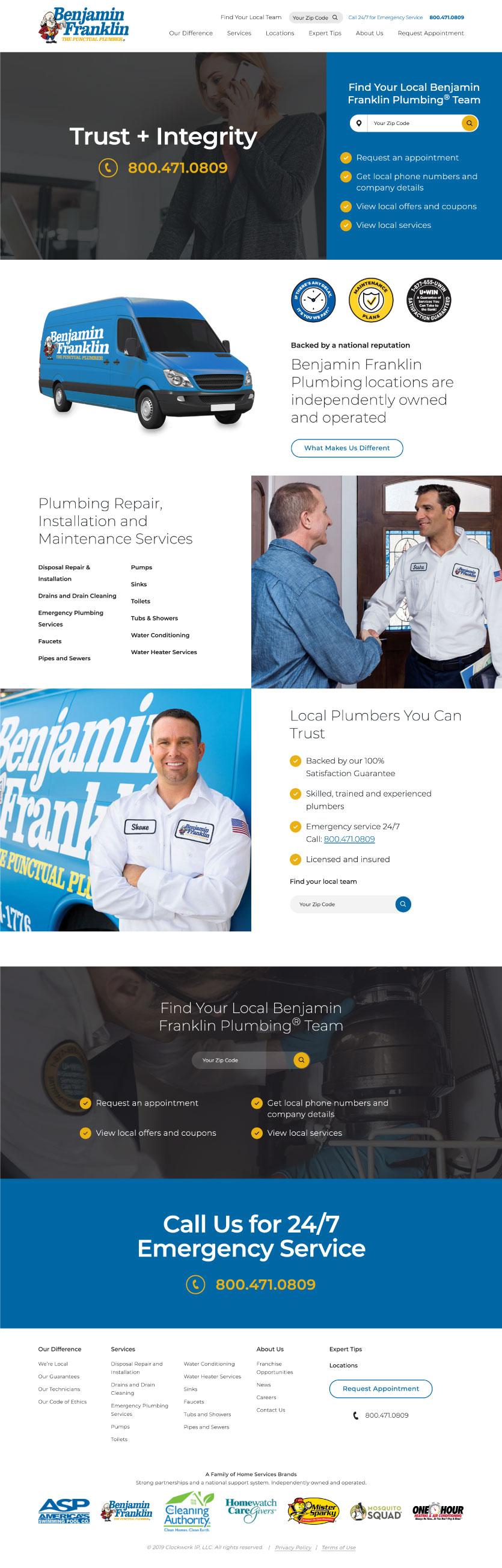 Plumbing Website Design Inspiration - 2020 2019 - Benjamin Franlin - Examples of plumbing websites