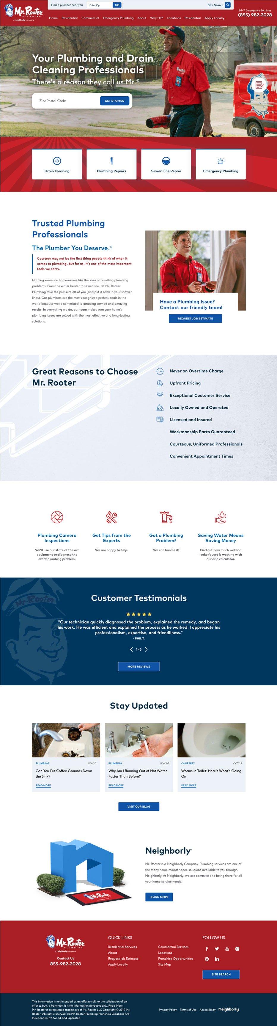 Mr Rooter Plumbing - Website Design Inspiration for Plumbers