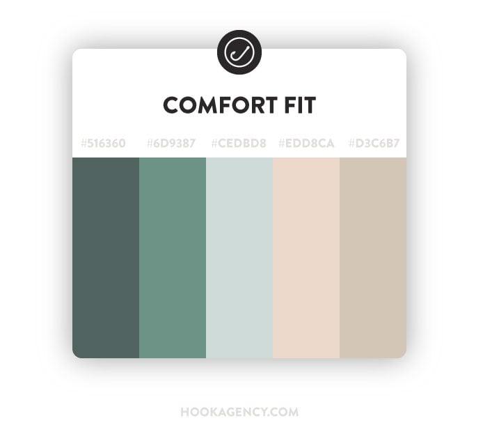 comfort fit tan pink green color scheme 2021