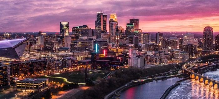 Minneapolis Purple Rain - Aerial View at Night, Beautiful overhead view