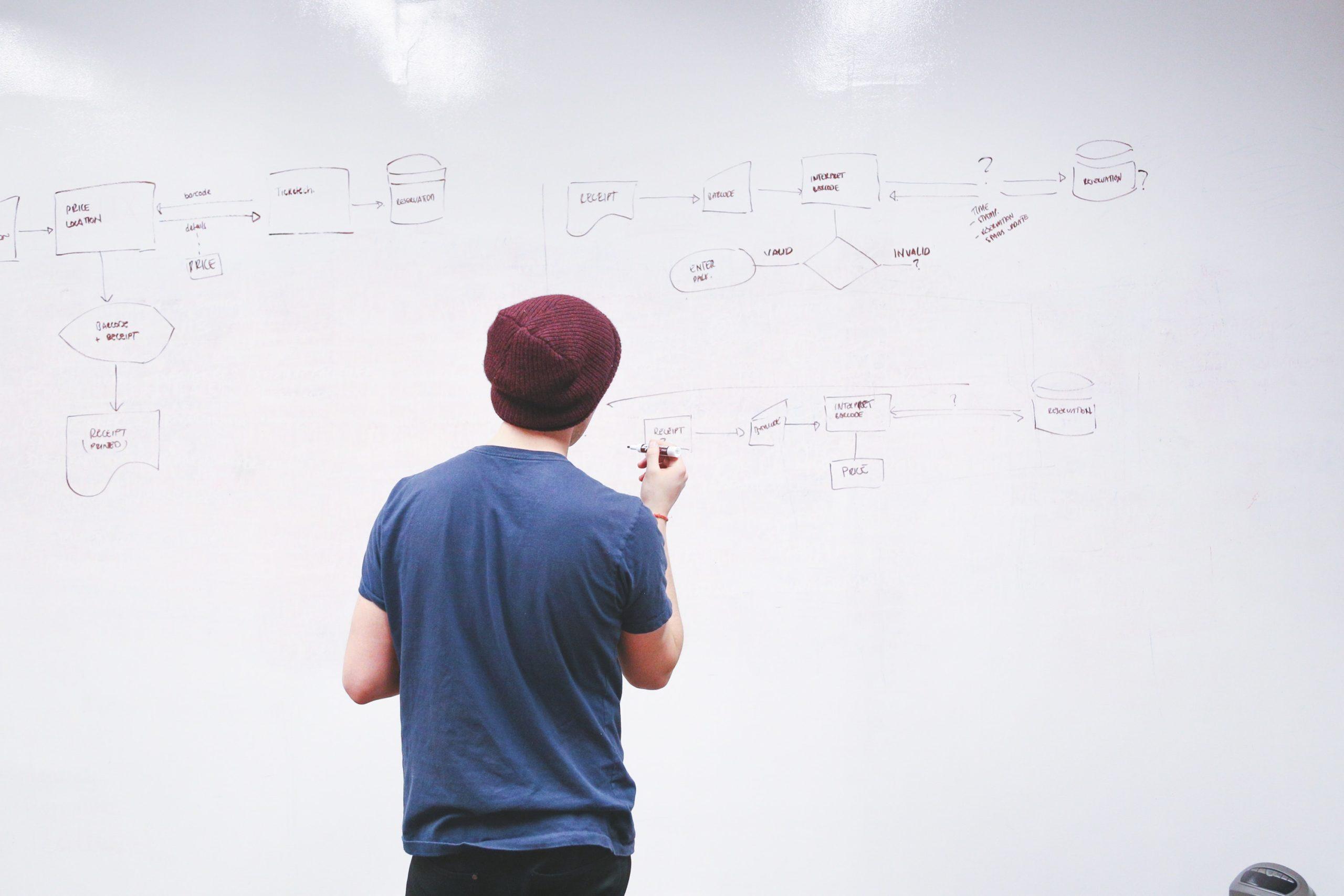 Man standing by whiteboard organizing data